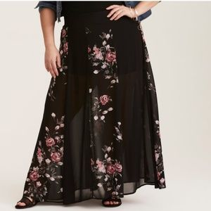 Torrid Sheer Floral Maxi Skirt with Shorts 2